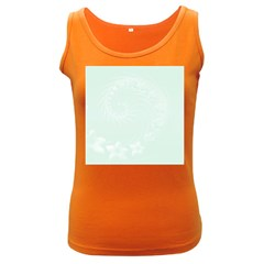 Pastel Green Abstract Flowers Womens  Tank Top (Dark Colored)