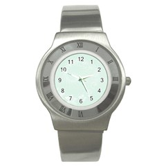 Pastel Green Abstract Flowers Stainless Steel Watch (Unisex)