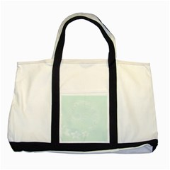 Pastel Green Abstract Flowers Two Toned Tote Bag