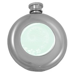 Pastel Green Abstract Flowers Hip Flask (Round)