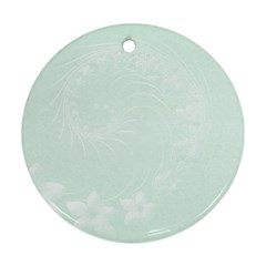 Pastel Green Abstract Flowers Round Ornament (Two Sides)