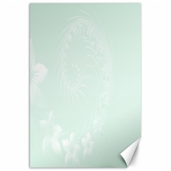 Pastel Green Abstract Flowers Canvas 20  x 30  (Unframed)