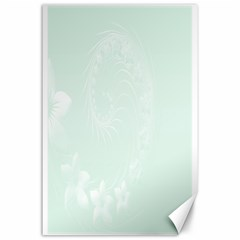 Pastel Green Abstract Flowers Canvas 24  x 36  (Unframed)
