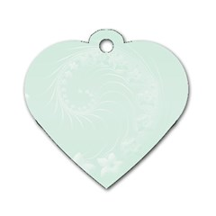 Pastel Green Abstract Flowers Dog Tag Heart (one Sided)