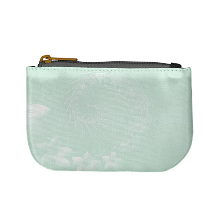 Pastel Green Abstract Flowers Coin Change Purse