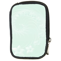 Pastel Green Abstract Flowers Compact Camera Leather Case