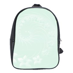 Pastel Green Abstract Flowers School Bag (large)