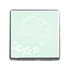 Pastel Green Abstract Flowers Memory Card Reader With Storage (square)
