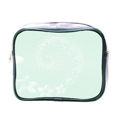 Pastel Green Abstract Flowers Mini Travel Toiletry Bag (One Side)