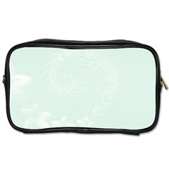 Pastel Green Abstract Flowers Travel Toiletry Bag (two Sides)