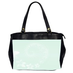 Pastel Green Abstract Flowers Oversize Office Handbag (Two Sides)