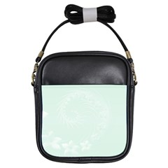 Pastel Green Abstract Flowers Girl s Sling Bag