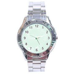 Pastel Green Abstract Flowers Stainless Steel Watch (Men s)