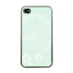 Pastel Green Abstract Flowers Apple iPhone 4 Case (Clear)