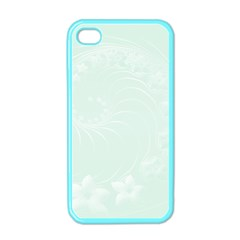 Pastel Green Abstract Flowers Apple iPhone 4 Case (Color)
