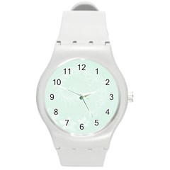 Pastel Green Abstract Flowers Plastic Sport Watch (Medium)