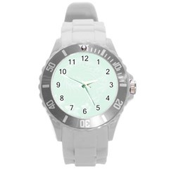Pastel Green Abstract Flowers Plastic Sport Watch (large)
