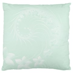 Pastel Green Abstract Flowers Large Cushion Case (One Side)