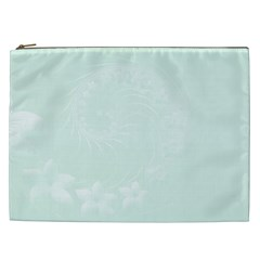 Pastel Green Abstract Flowers Cosmetic Bag (xxl)