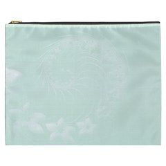 Pastel Green Abstract Flowers Cosmetic Bag (xxxl)