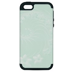 Pastel Green Abstract Flowers Apple iPhone 5 Hardshell Case (PC+Silicone)