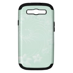 Pastel Green Abstract Flowers Samsung Galaxy S III Hardshell Case (PC+Silicone)