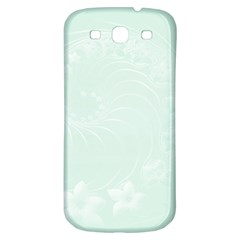 Pastel Green Abstract Flowers Samsung Galaxy S3 S III Classic Hardshell Back Case