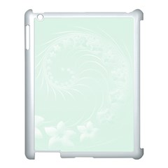 Pastel Green Abstract Flowers Apple iPad 3/4 Case (White)
