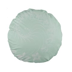 Pastel Green Abstract Flowers 15  Premium Round Cushion