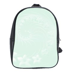 Pastel Green Abstract Flowers School Bag (XL)