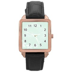 Pastel Green Abstract Flowers Rose Gold Leather Watch