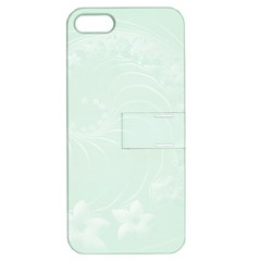 Pastel Green Abstract Flowers Apple iPhone 5 Hardshell Case with Stand