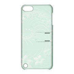 Pastel Green Abstract Flowers Apple Ipod Touch 5 Hardshell Case With Stand