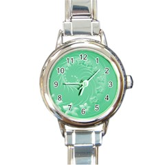Light Green Abstract Flowers Round Italian Charm Watch