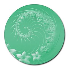 Light Green Abstract Flowers 8  Mouse Pad (Round)