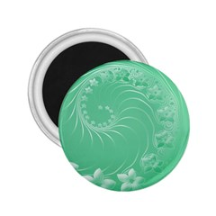 Light Green Abstract Flowers 2.25  Button Magnet