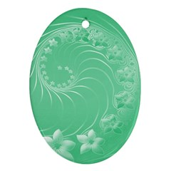 Light Green Abstract Flowers Oval Ornament