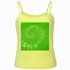 Light Green Abstract Flowers Yellow Spaghetti Tank