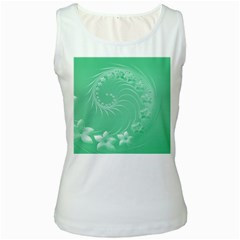 Light Green Abstract Flowers Womens  Tank Top (White)