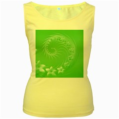 Light Green Abstract Flowers Womens  Tank Top (Yellow)