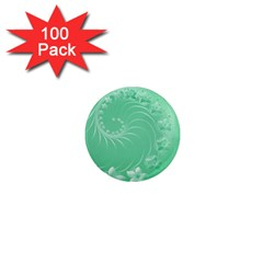 Light Green Abstract Flowers 1  Mini Button Magnet (100 pack)