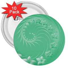 Light Green Abstract Flowers 3  Button (10 pack)