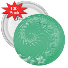 Light Green Abstract Flowers 3  Button (100 pack)
