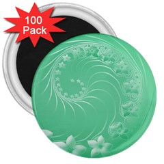 Light Green Abstract Flowers 3  Button Magnet (100 Pack)