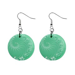 Light Green Abstract Flowers Mini Button Earrings