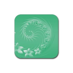 Light Green Abstract Flowers Drink Coasters 4 Pack (Square)