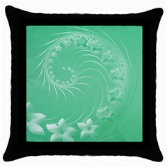 Light Green Abstract Flowers Black Throw Pillow Case