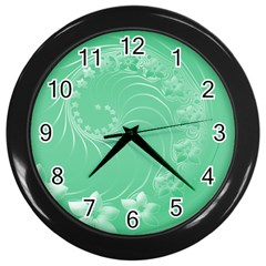 Light Green Abstract Flowers Wall Clock (Black)