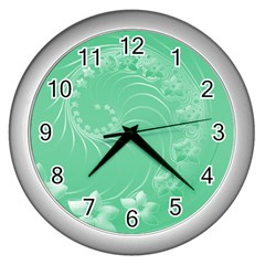 Light Green Abstract Flowers Wall Clock (silver)