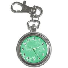 Light Green Abstract Flowers Key Chain & Watch
